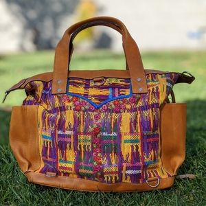 Huipil Leather Bag Artisan Hand Made MEDIUM new 5